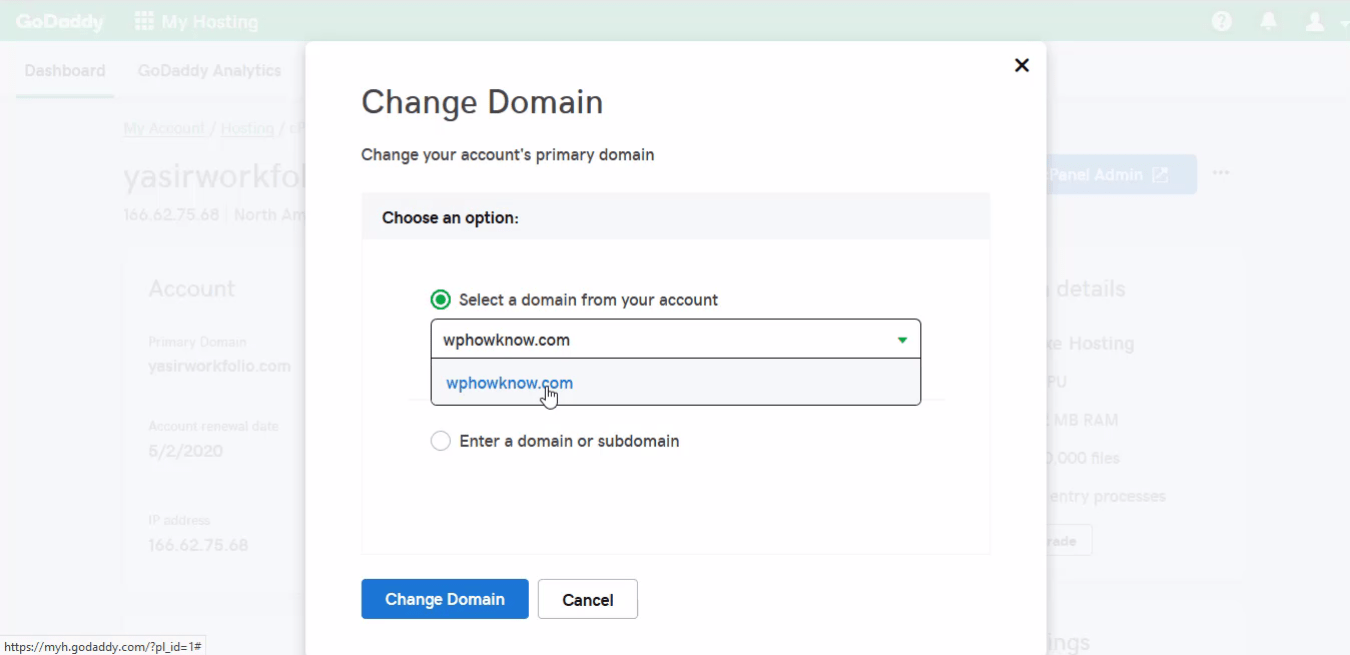 How to change primary domain step 6
