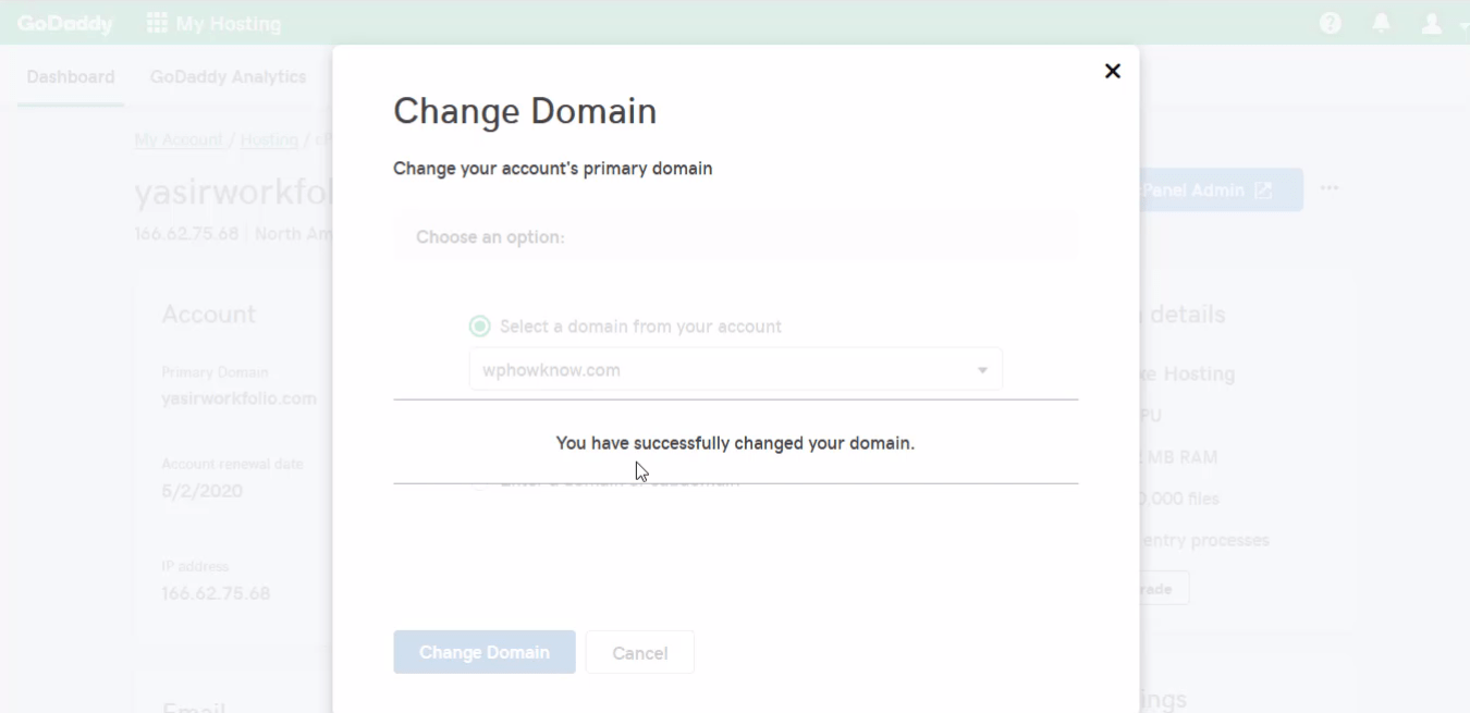 How to change primary domain step 7.1