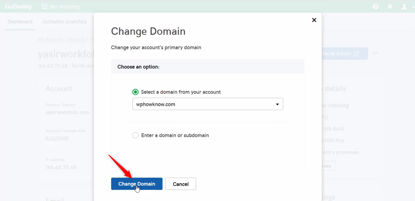 How to change primary domain step 7