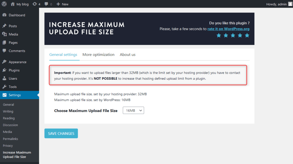Cannot increase pre-defined upload limit set by your web hosting