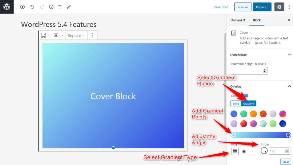 Color gradient Option for Cover Block in WordPress 5.4