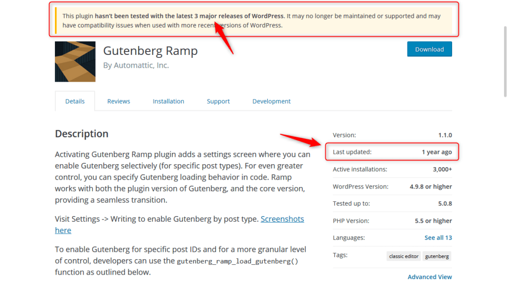 'Gutenberg Ramp' Plugin is out-dated