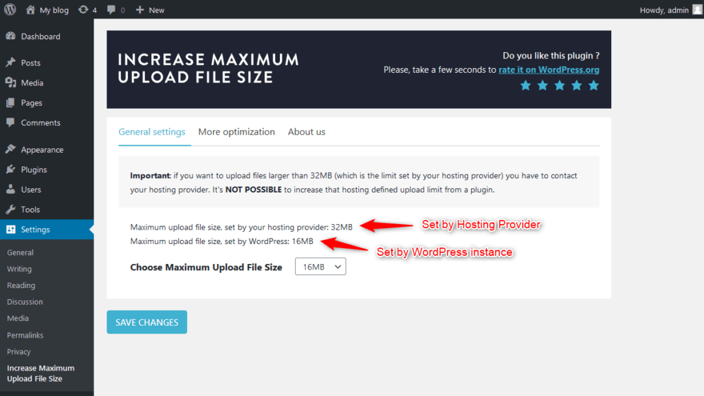 Max upload file size limits set by your web hosting provider and WordPress