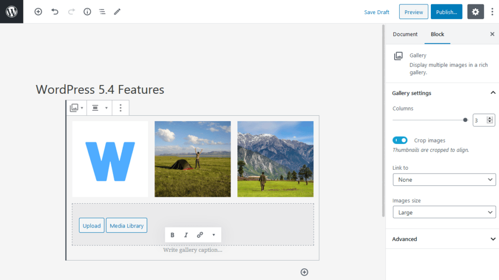 Select Size for all Gallery Images Feature in WordPress 5.4
