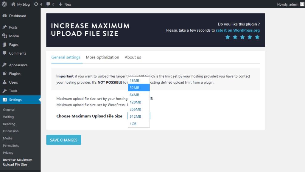 Select maximum upload file size