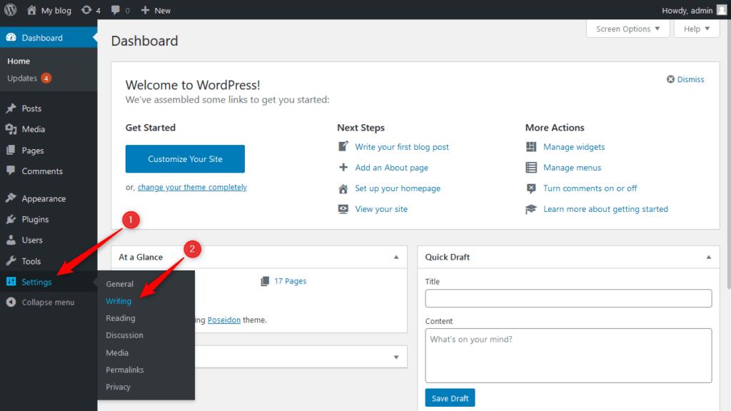 WordPress writing section