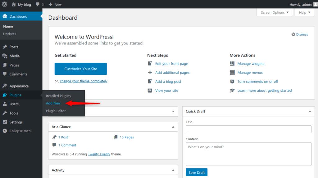 Add new plugin from WordPress Dashboard Area