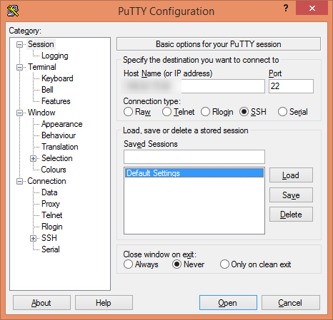 Connect via SSH to server using PuTTy