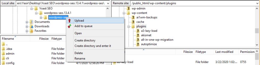 Upload plugin folder to server using FileZilla