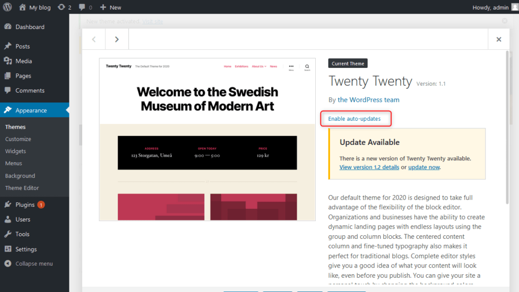 Enable Auto Updates for Themes - WordPress 5.5