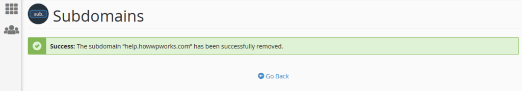 Success messgae after deletion of subdomain