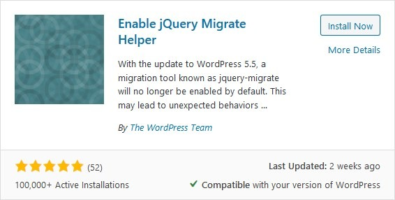 Enable jQuery Migrate Helper plugin