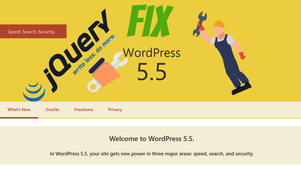 Update to WordPress 5.5 broke website, jQuery Migrate fix WordPress 5.5
