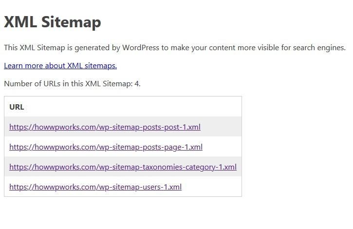WordPress default sitemap